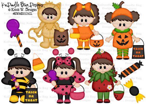 Halloween Dress Up Kids  Original Artwork by Kristi W. Designs  www.kadoodlebugdesigns.com