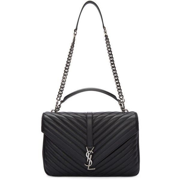 099c734c95 Saint Laurent Black Large Monogram College Bag ($2,485) ❤ liked on Polyvore  featuring bags, handbags, shoulder bags, black, chain strap purse, ...