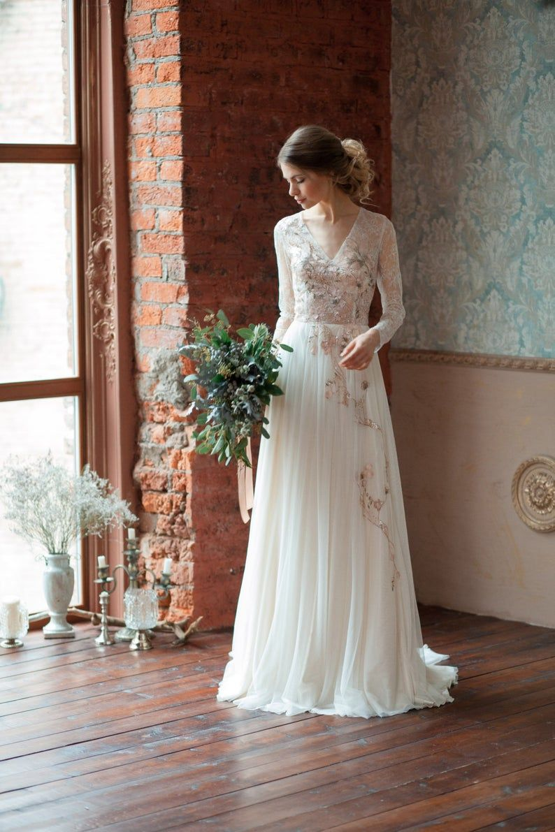 Lace Wedding Dress Gloria Long Sleeves Wedding Dress Etsy Light Wedding Dresses Comfortable Wedding Dress Etsy Wedding Dress