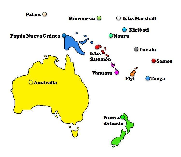 Mapa Con Los Países De Oceanía Mapa De Oceania Oceanía Continentes