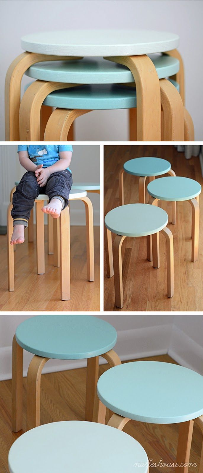 IKEA STOOLS - PAINTED IN SHADES OF MINT...awesome at room side to pull out when entertaining.