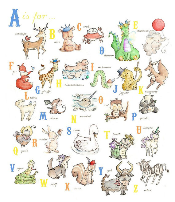Baby Nursery Art Print Dog Abc Nursery Decor Alphabet Print: BOYS Alphabet Chart From A To Z. PRINT 8X10. Nursery Art
