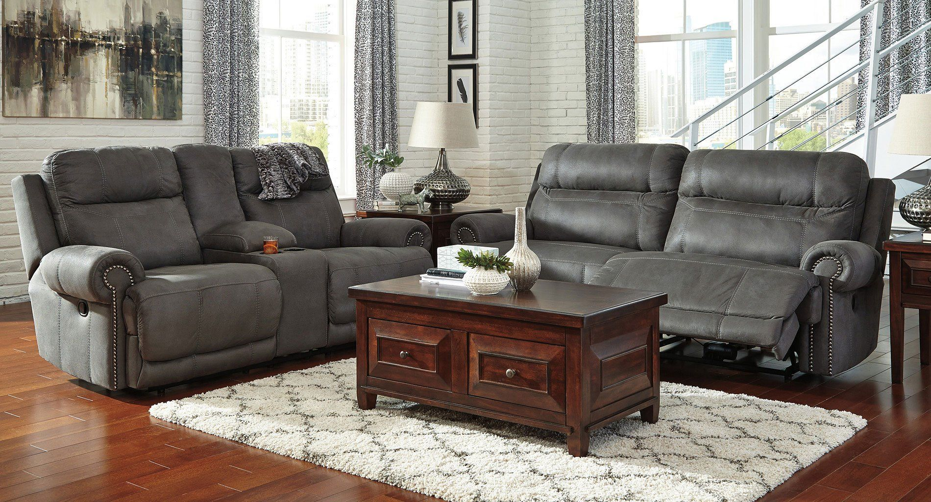 Austere Gray Reclining Living Room Set in 2020   Grey ...