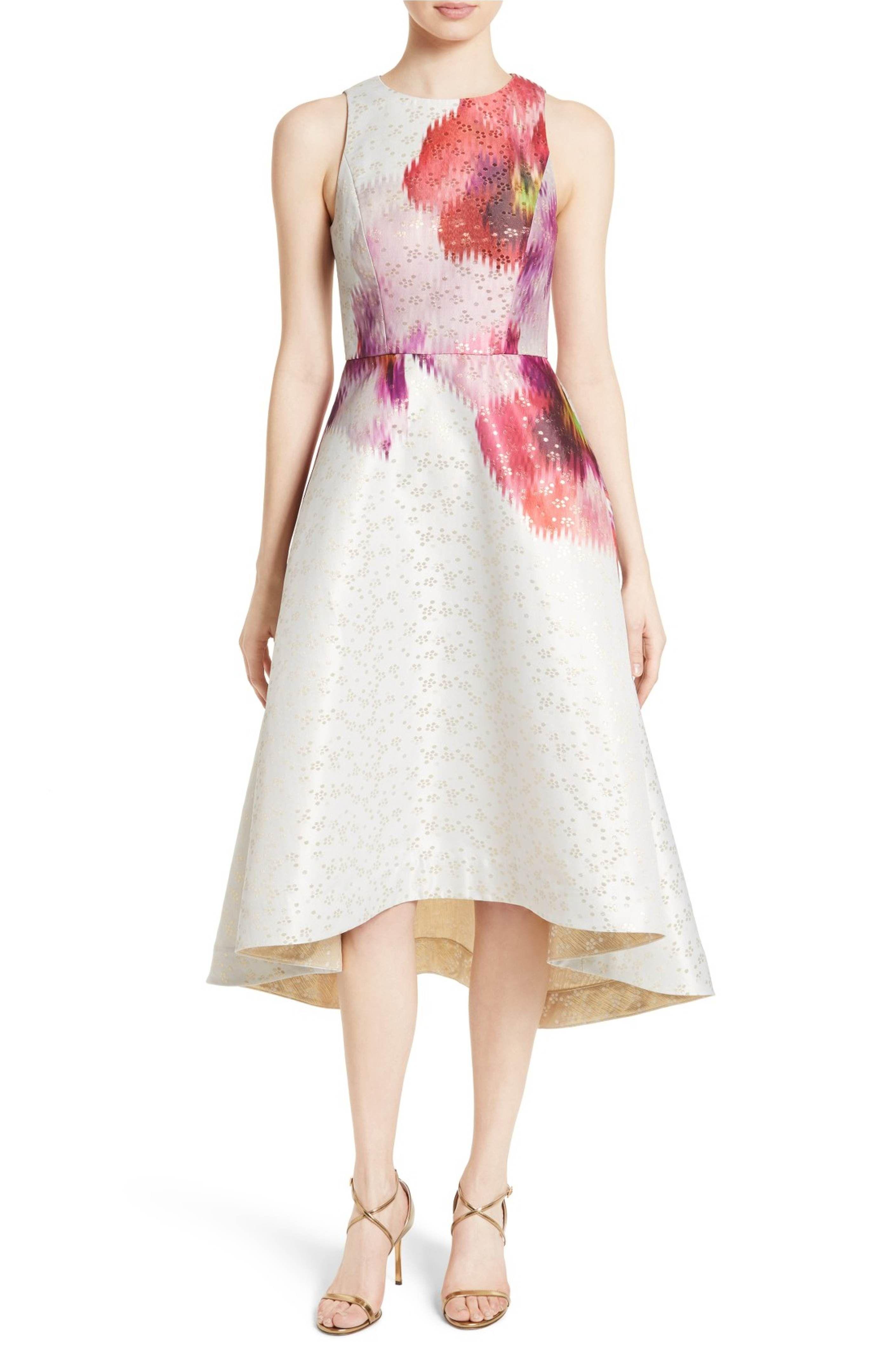 e017b696316 Main Image - Ted Baker London Jenn Print Jacquard Fit   Flare Dress ...