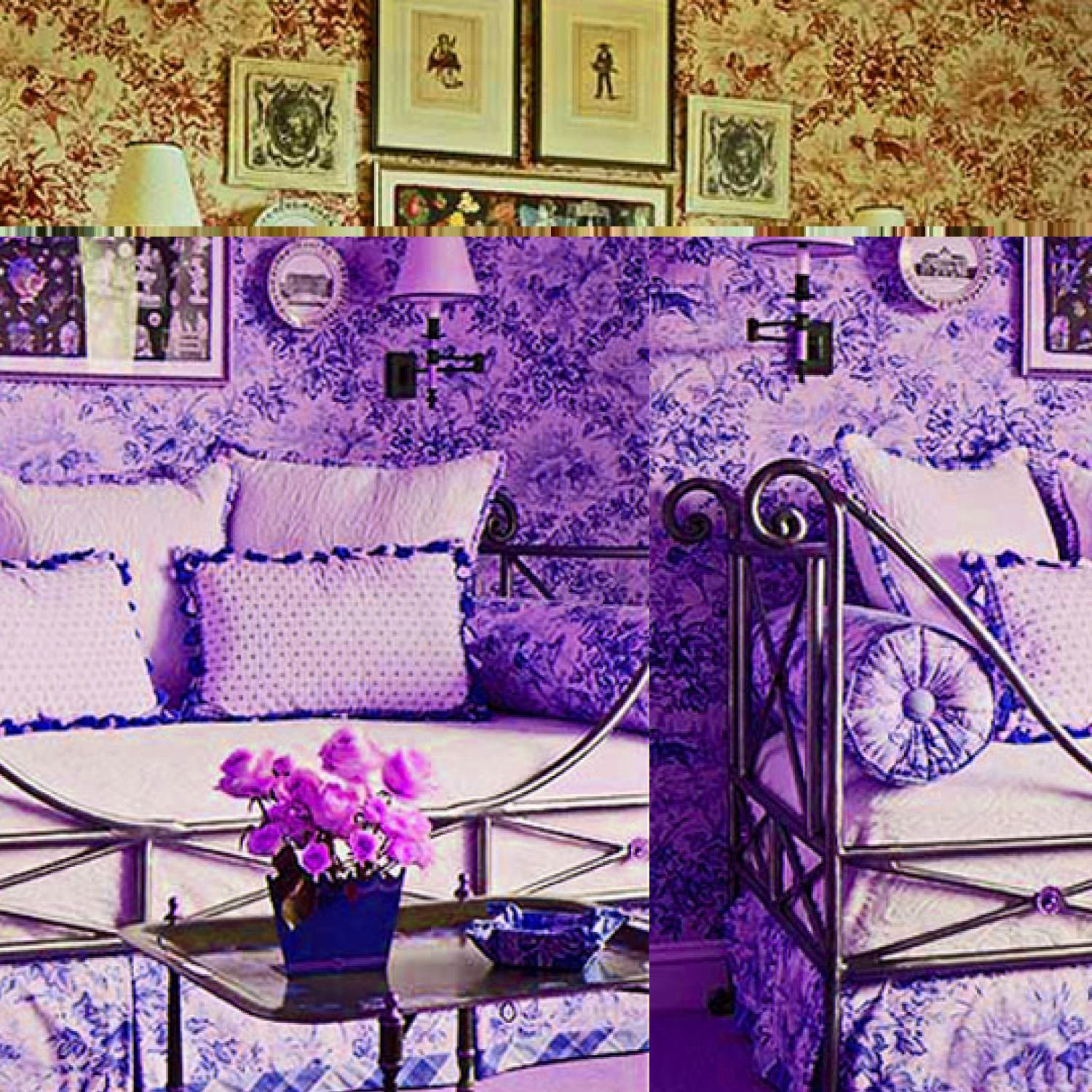 Decorating Ideas: Toile Fabric  Toile de jouy fabric originated in France in the 1760s. The original patterns usually depicted pastoral scenes; today there are many pattern choices and colors available. Here are dozens of ways to use toile to enliven a room, including decorating tips.