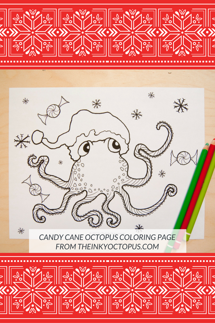 Candy Cane Octopus Coloring Page* Celebrate candy canes and ...