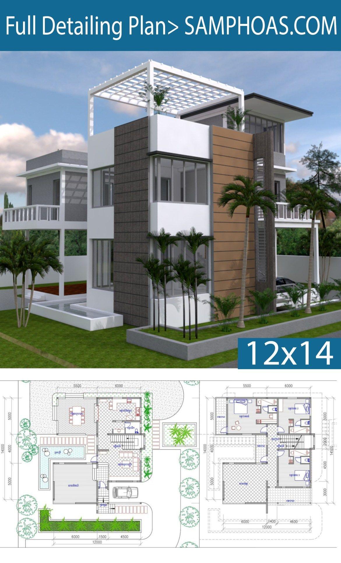3 Story House Plan 12x14m With 4 Bedrooms Rumah Indah Arsitektur Rumah Arsitektur