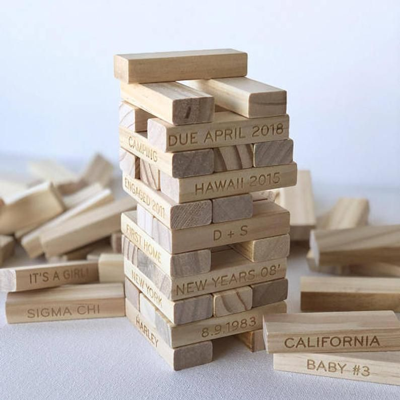5th anniversary wood gift personalized tumbling tower set
