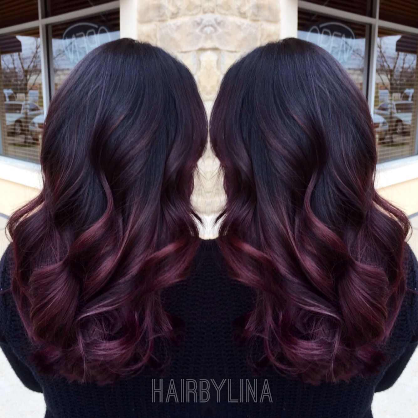 Burgundy ombre on instagram mirrormirroronthewall hair