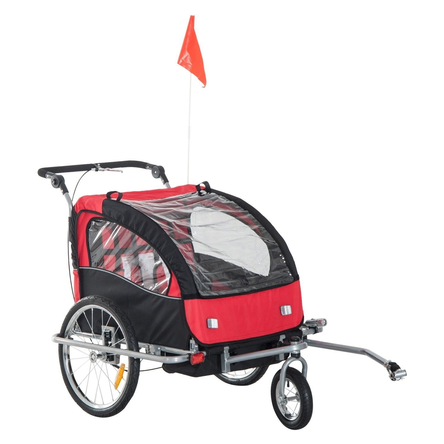 2 in 1 Child Bike Trailer,2SeaterBlack/Red (With