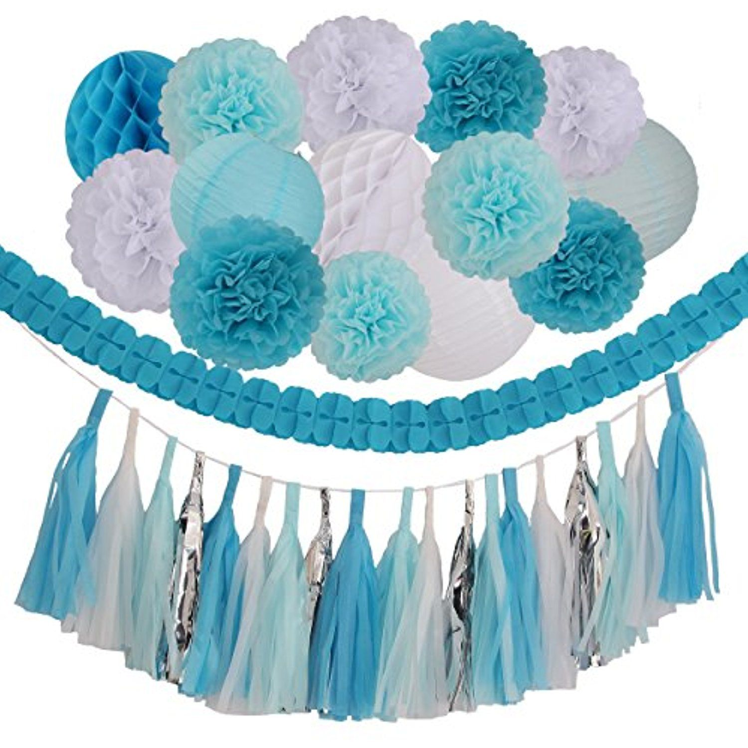 Light blue wedding decoration ideas   Pieces Blue Light Blue White Tissue Pom Poms Flower Party Paper