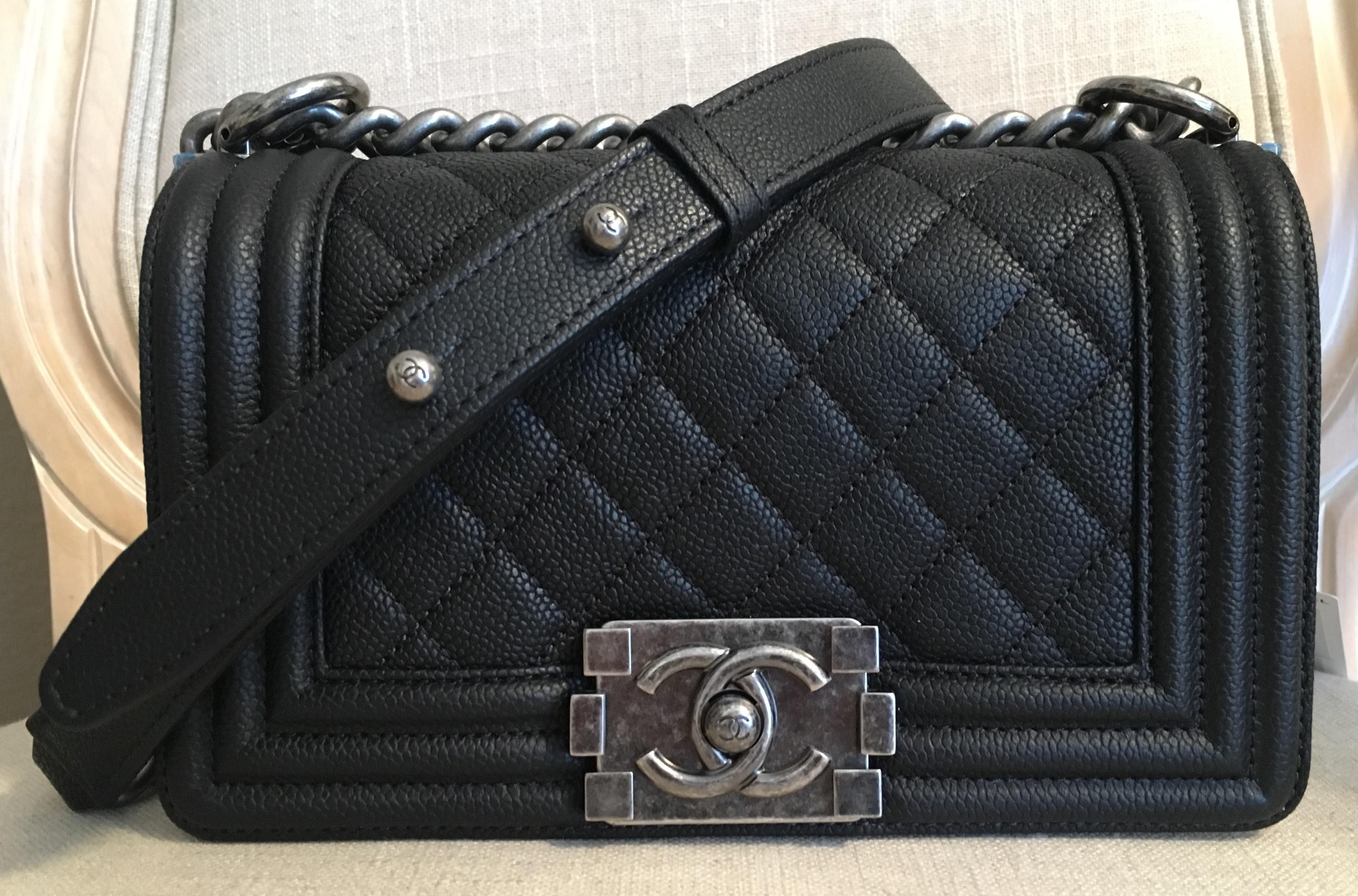 c99b9868c630 Chanel Caviar Leather Boy Flap With Ruthenium Hardware Black Cross Body Bag.  Get the trendiest Cross Body Bag of the season! The Chanel Caviar Leather  Boy ...