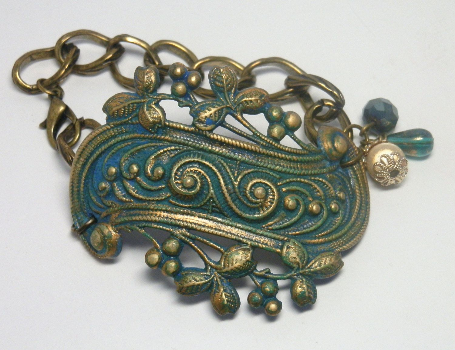 Victorian scroll bracelet cuff - American made brass - miracle bead - antiqued brass chain - Swellegant chartreuse dye oxide & blue patina by FireskyeDesigns on Etsy