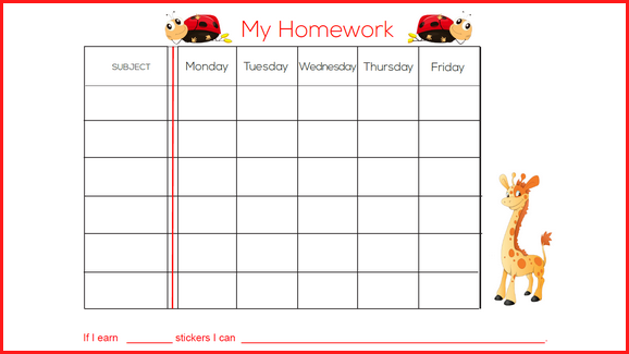 picture about Printable Homework Chart called Cost-free Weekly Research Sticker Chart (Simple) Behaviors