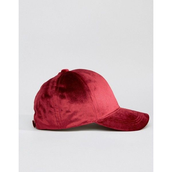 4b1db1061b35a ASOS Velvet Baseball Cap ( 5.90) ❤ liked on Polyvore featuring accessories
