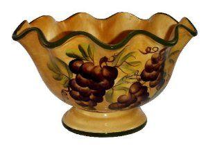 Tuscany Kitchen Decor Grape Pedestal Fruit Bow Salad Bowl