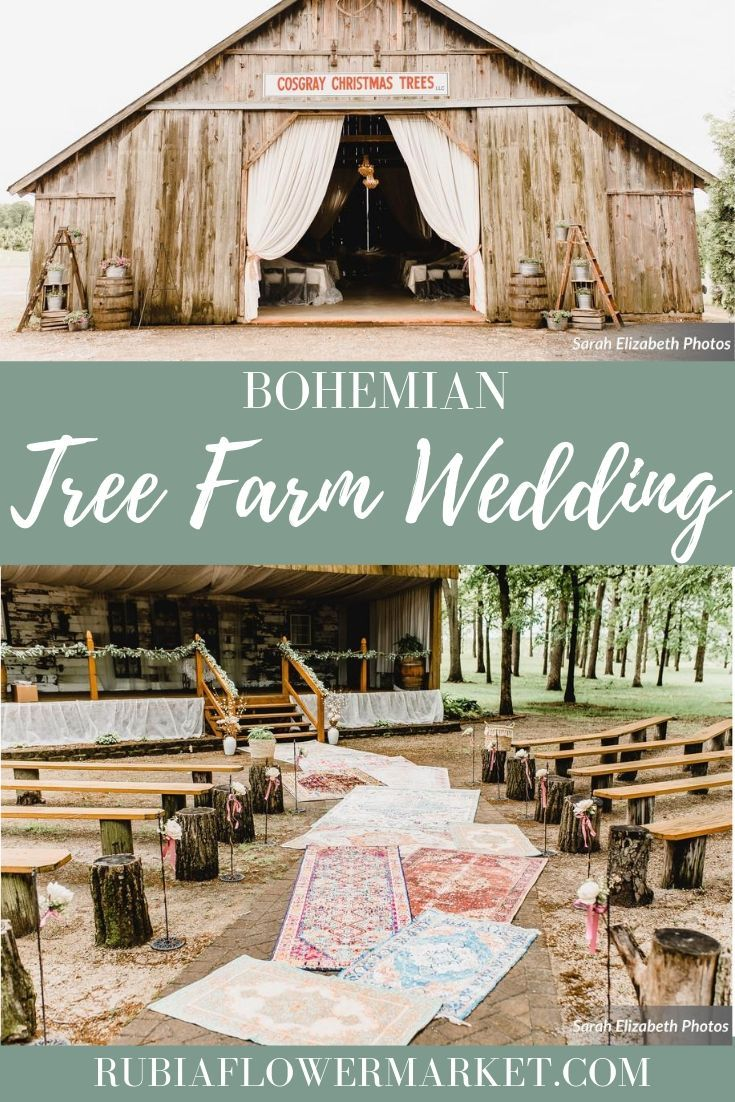 Bohemian outdoor wedding ceremony with vintage rug aisle