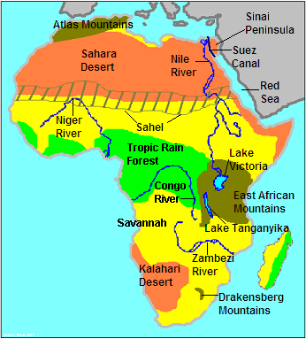 This map describes the physical features of Africa. It shows the ...