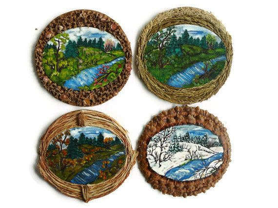 Four Seasons Acrylic Paintings Framed in Natural by DreamsEmporium, $98.00