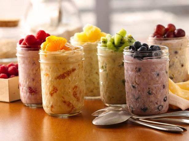 Overnight oatmeal--6 oz greek yogurt, 1/4 c old fashioned or quick oats, 1/4 c fruit. Mix yogurt and fruit, then stir in fruit. Refrigerate for 8 hours, but no longer than 3 days. Source Betty Crocker (1t chia seeds) http://www.bettycrocker.com/recipes/overnight-oatmeal/e1442c2f-9103-4036-9c2e-3441e1c42fd5