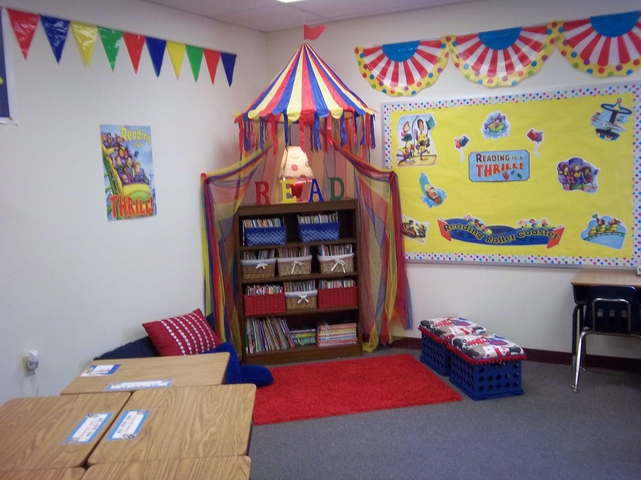 Circus Classroom Decoration Ideas ~ Carnival themed reading corner classroom decor