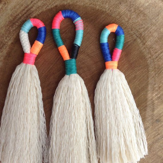 Photo of DIY Tassel Making Kit.  Make your own large or mini tassels with cream cotton rope and waxed neon twine. craft kit, Block colour tassels
