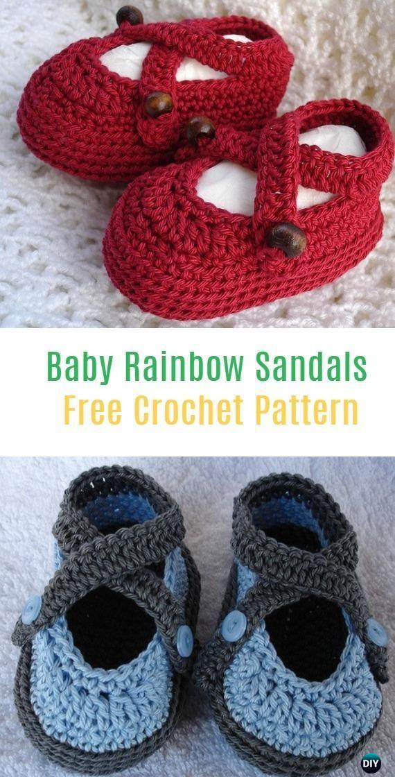 Crochet Baby Rainbow Sandals Free Pattern - Crochet Baby Booties ...