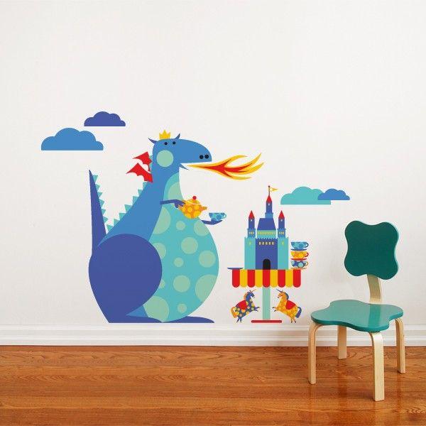 Dragon Tea Party wall sticker by ADzif, Canada. Design by Julien Chung. 48$...adorable decor for a kindergarten classroom nook. :)