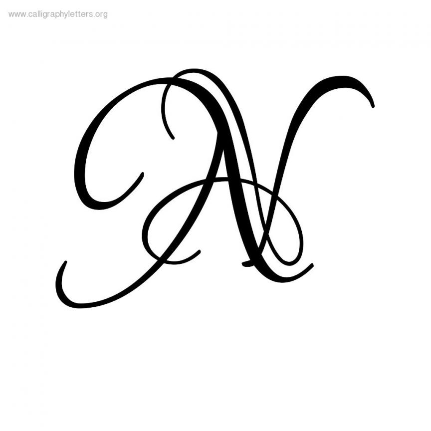 Letter n calligraphy lovers quarrel a z