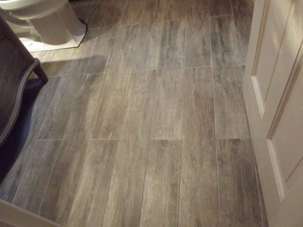 Wood look porcelain tile bathroom contemporary with grey for Ceramic tile basement