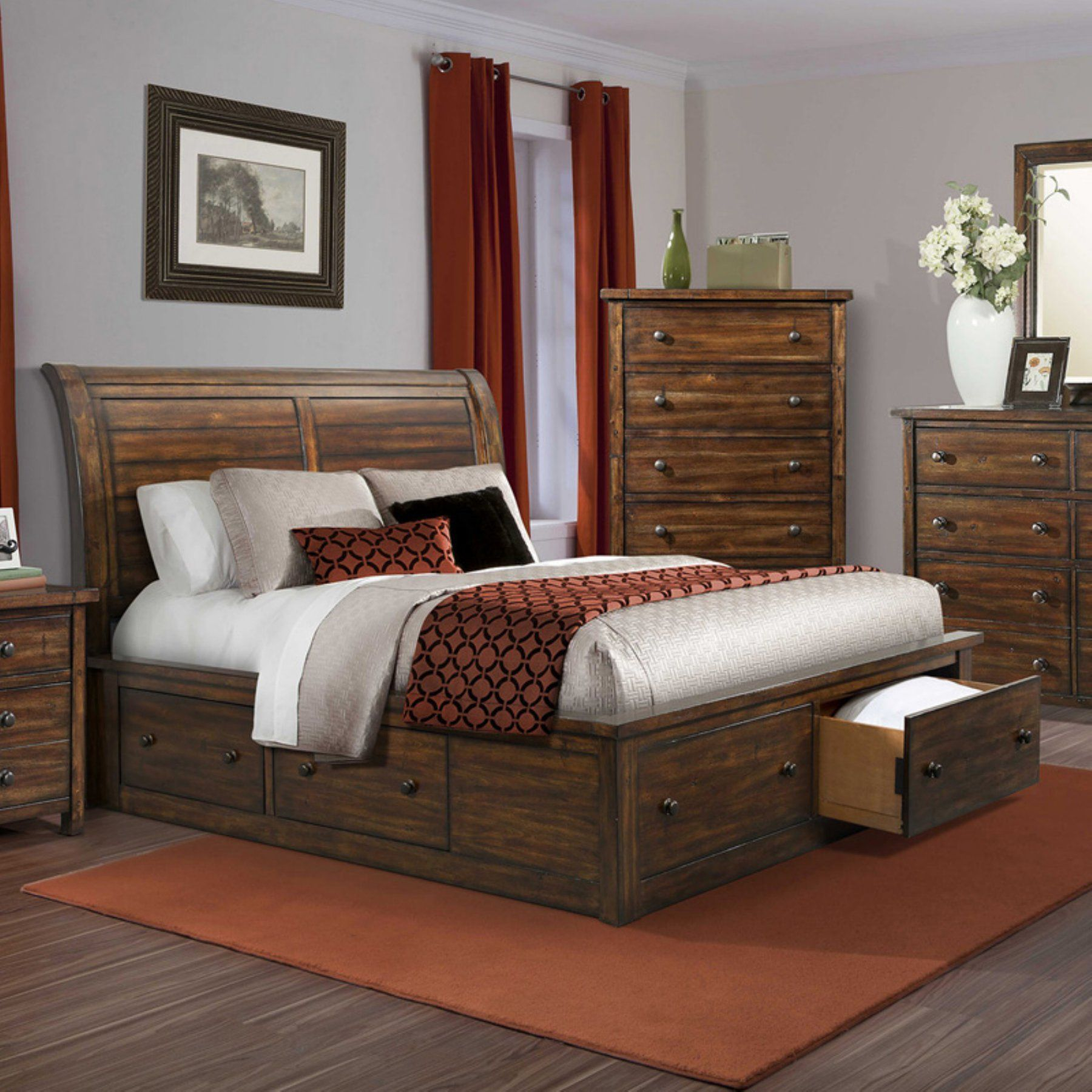 Cambridge Aspen Creek Storage Sleigh Bed  98123Bqu Rc