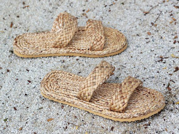 Straw Shoes Straw Slippers Woven Shoes Thai Slippers