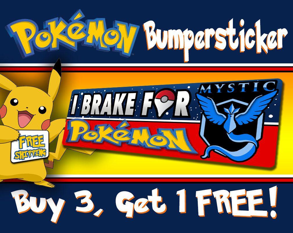 I Brake For Pokemon Team Mystic Pokemon Go Bumper Sticker Free Shipping Team Mystic Pokemon Team Mystic Bumper Stickers [ 805 x 1009 Pixel ]