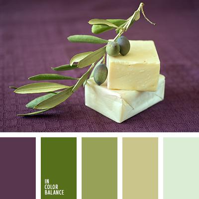 Los tonos verde oliva de la paleta combinan maravillosamente con el berenjena y el blanco nata. Tal composición de color es idónea para decorar un salón-comedor al estilo mediterráneo. Si quieres convertir dicha habitación en un oasis de calma y confort, esta paleta es para ti.