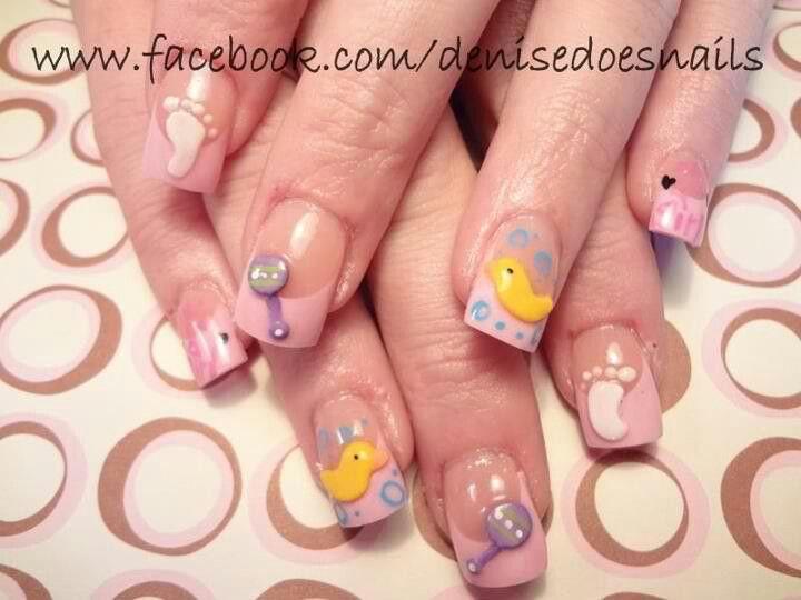 Its A Girl Baby Girl Nail Art Babyshower Nail Art My Designs