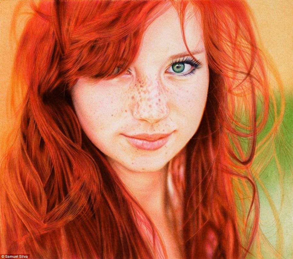 Faux Photo: 'Redhead Girl', based on a photograph by Russian photographer Kristin Taraina, was painstakingly executed by Samuel Silva, a Portugese-based attorney with six different colored ball point pens.