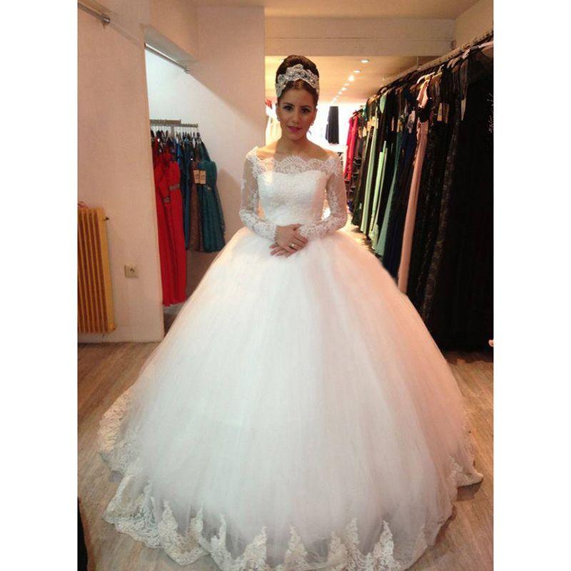 Vestido De Noiva Off The Shoulder Lace Long Sleeve Puffy Wedding ...