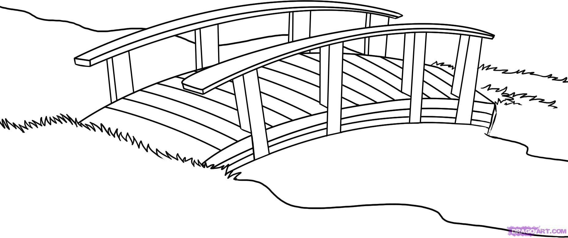How To Draw A Bridge By Dawn Garden Coloring Pages Bridge