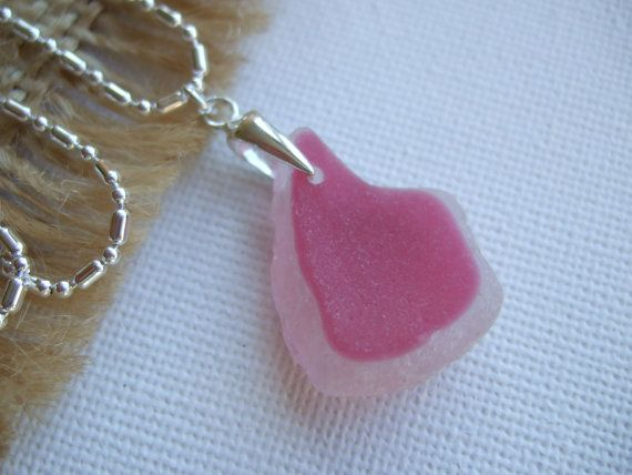 Pink and white sea glass pendant on sterling bail by TiliabytheSea