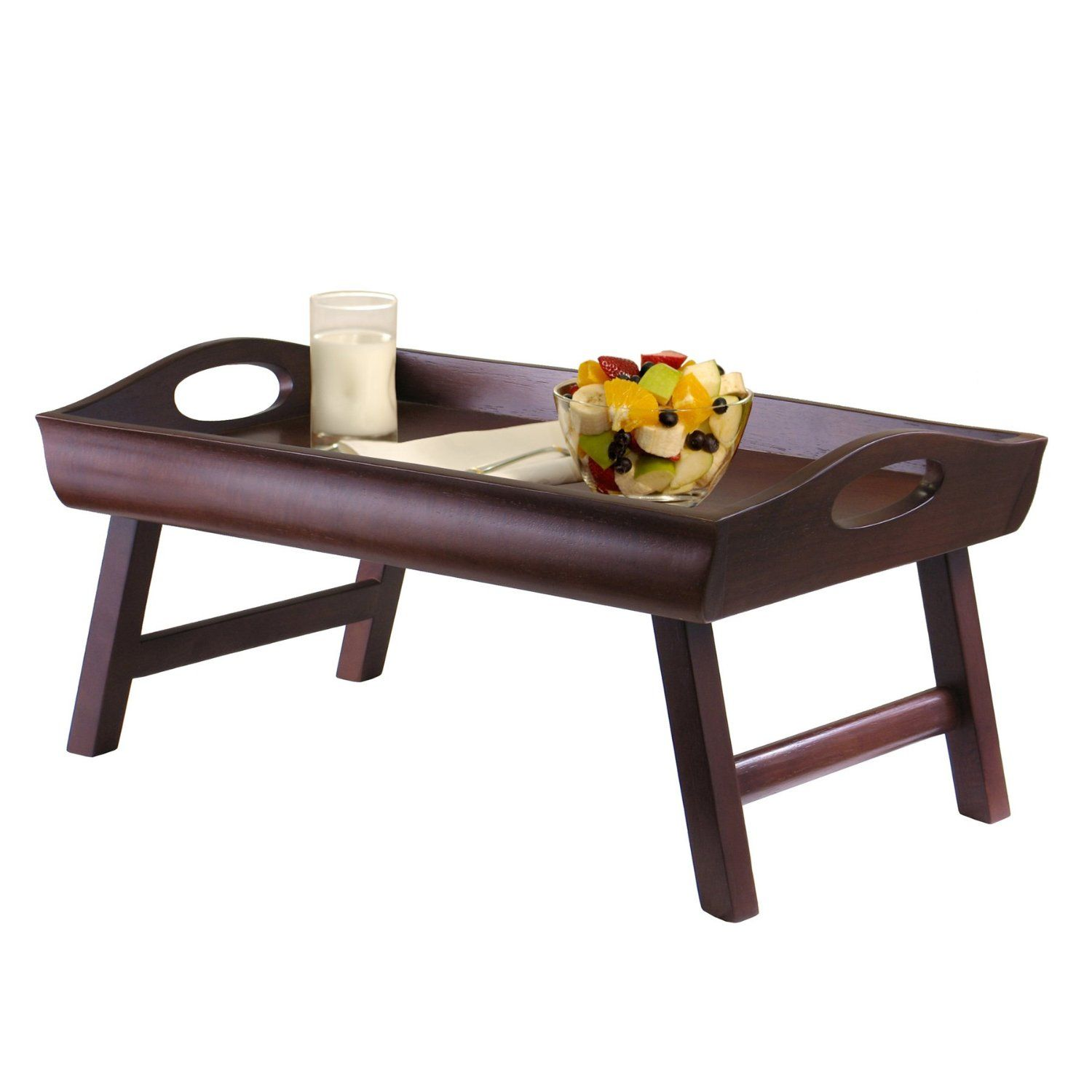Winsome Wood Sedona Bed Tray Curved Side, Foldable Legs, Large Handle: Housewarming  Gift