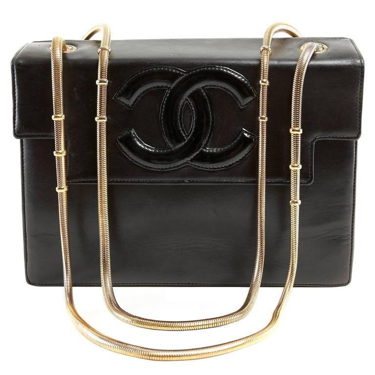Chanel Vintage Black Leather Snake Chain Bag  ab6c780641ead