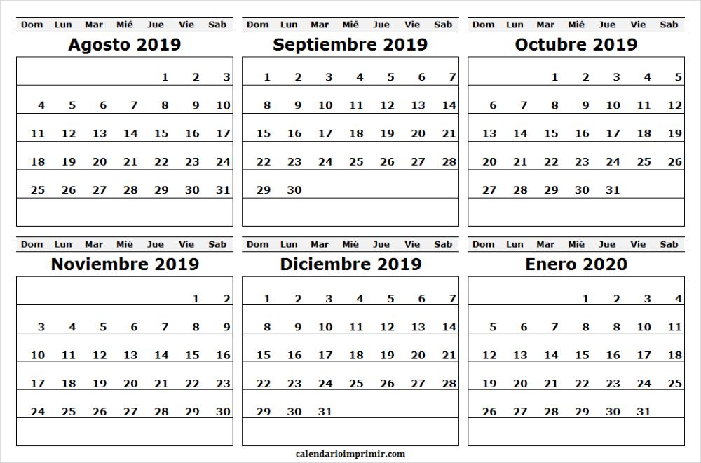 Calendario Agosto 2020.Plantilla De Calendario Agosto 2019 Enero 2020 Plantilla
