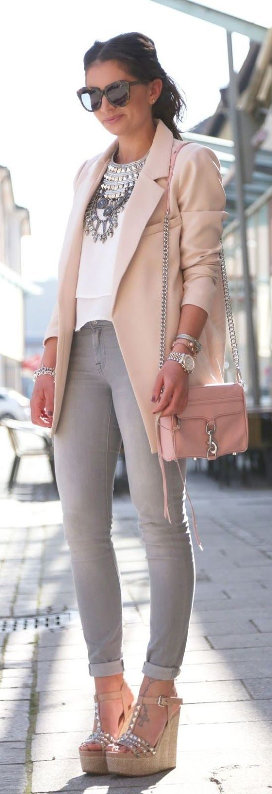 Spring look | Blush blazer, statement necklace, studded wedge sandals and grey skinnies
