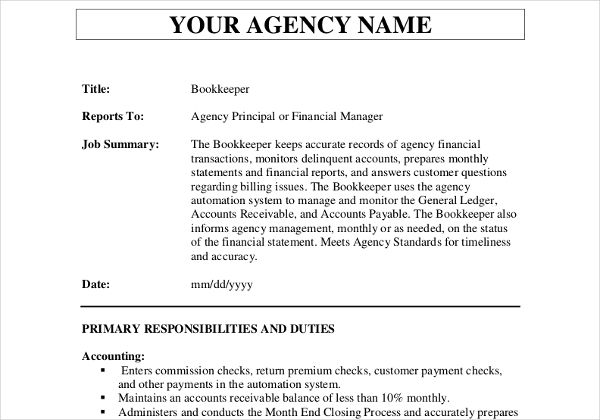 10+ Job Description Templates Word, Excel  PDF Templates www - accounts payable excel spreadsheet template