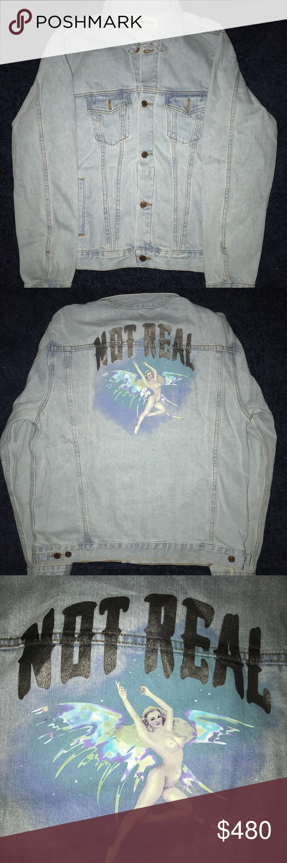 ab72e2037537 Off White Angel over denim jacket Size L Men (Fits XL) Bought used Never