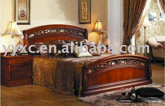 Lujo clásico cama de madera de diseño de muebles de dormitorio ...