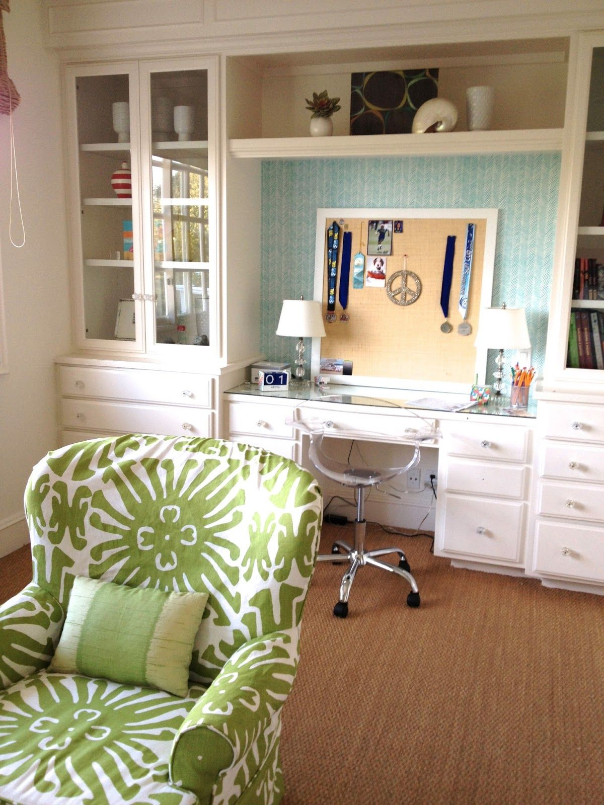 Quadrille Wallpaper Desk In Living Room Home Decor Home