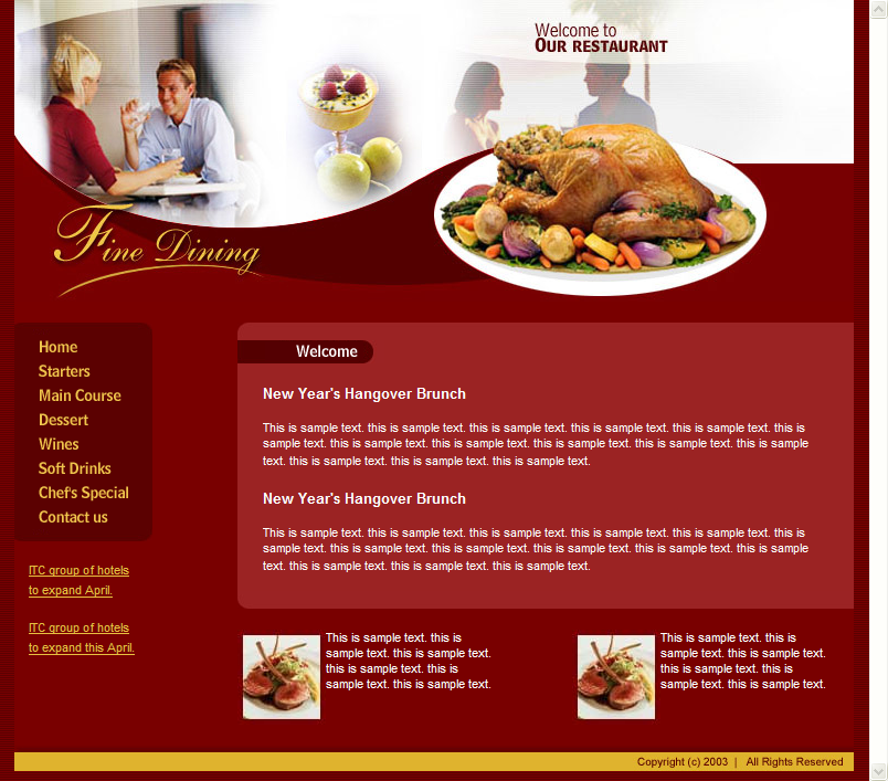 Free Html Web Template Restaurant Cafe Png 804