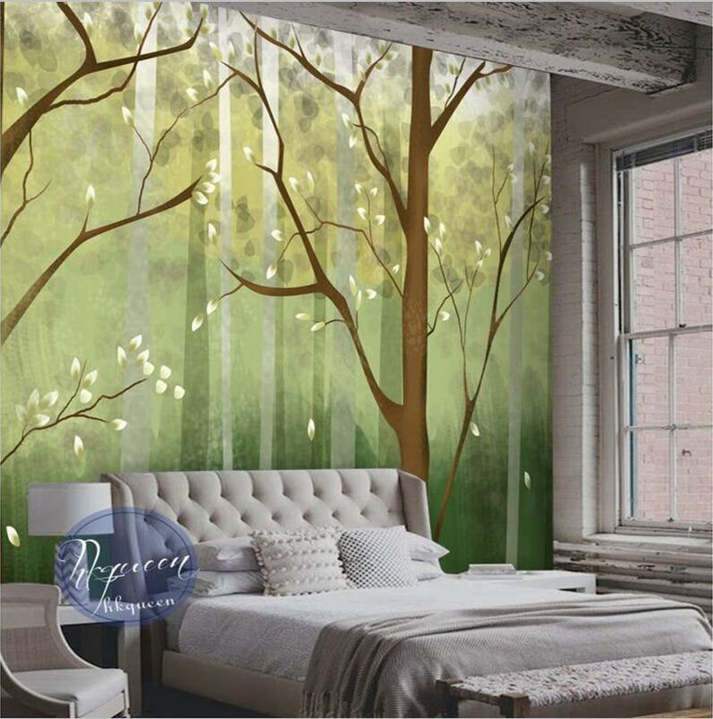 Hand Painted Trees wall Mural Birch Mural for Bedroom Living Room Home Decor Oil Painting Blue Backgroud Birch Trees Wallpaper Wall Mural