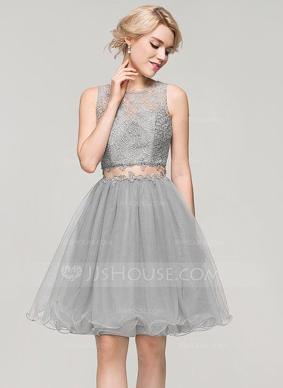 A-Line/Princess Scoop Neck Knee-Length Tulle Lace Homecoming Dress ...